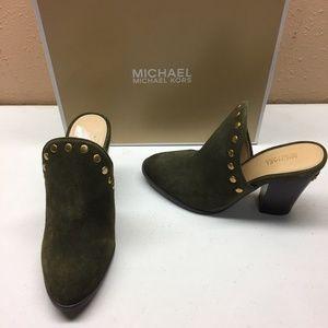 Michael Kors Green Suede Slide Heels 5M
